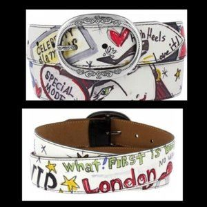 Brighton Fashionista Belt White Graffiti sz 36
